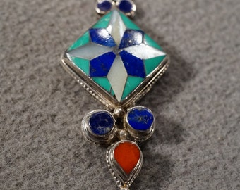 vintage sterling silver pendant charm with an intricate star design and accents of lapis, turquoise, mother of pearl and carnelian  M2