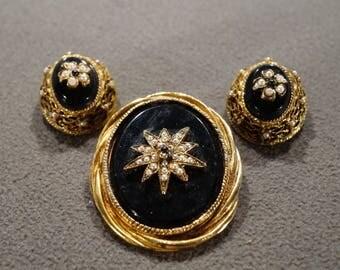 Vintage Art Deco Style Yellow Gold Tone Faux Jet Black Onyx Pearl Set Clip On Earrings Jewelry Set -K#31