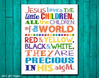 Jesus Loves The Little Children Wall Art. Childrens Church Decor. Christian Decor. Christian Wall Art. Sunday School Art. Childrens Worship.