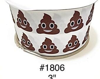 "2/3/5 yard - 3"" Poop White Jumbo Grosgrain Ribbon Cheer Bow Craft Supply"