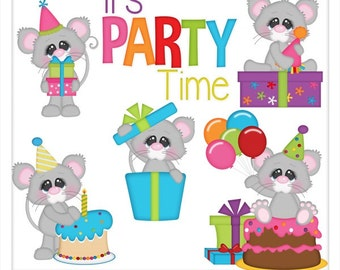 DIGITAL SCRAPBOOKING CLIPART - Mouse Birthday Bash