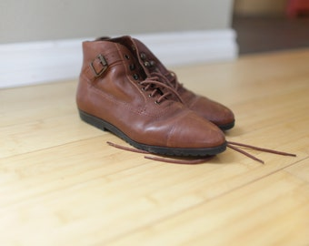 vintage brown leather oxfords ankle boots lace up womens 6 *