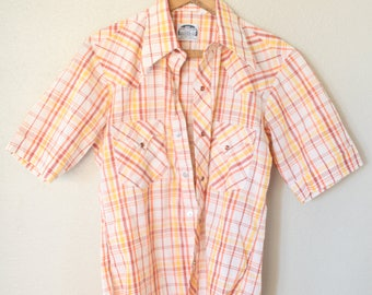 vintage 1970's orange & yellow plaid western cut pearl snap buttons shirt *