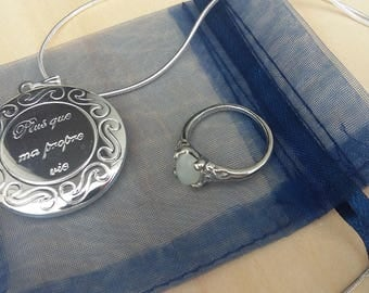 Renesmee Twilight inspired silver plated locket on 925 stamped silver plated chain 18 inches & Moonstone ring FREE UK POSTAGE