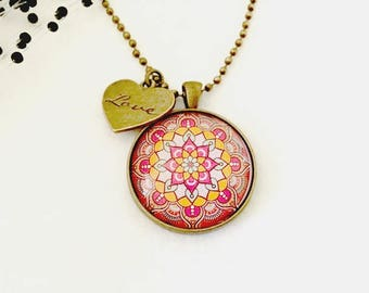 Mandala Art Necklace, Boho Gift, Mandala pendant, Mandala Jewellery, Bohemian Jewellery, Boho Necklace, Gift for Her, Australian Seller