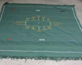 Carpet Vintage handmade Moroccan kilim Cactus Kilim 'Sabra' size: 150cm x 100 cm / 4, 92feet x 3, 28feet