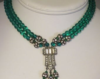 VintageArt Deco era double strand emerald green crystal bead rhinestone paste rondelle tassel choker necklace