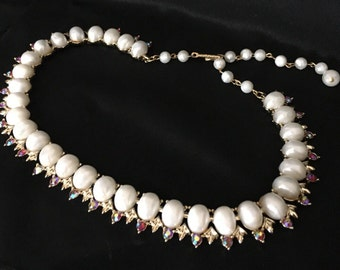 Vintage Coro Faux Pearl Cabochons and Aurora Borealis Rhinestones Necklace, Vintage Coro Jewelry
