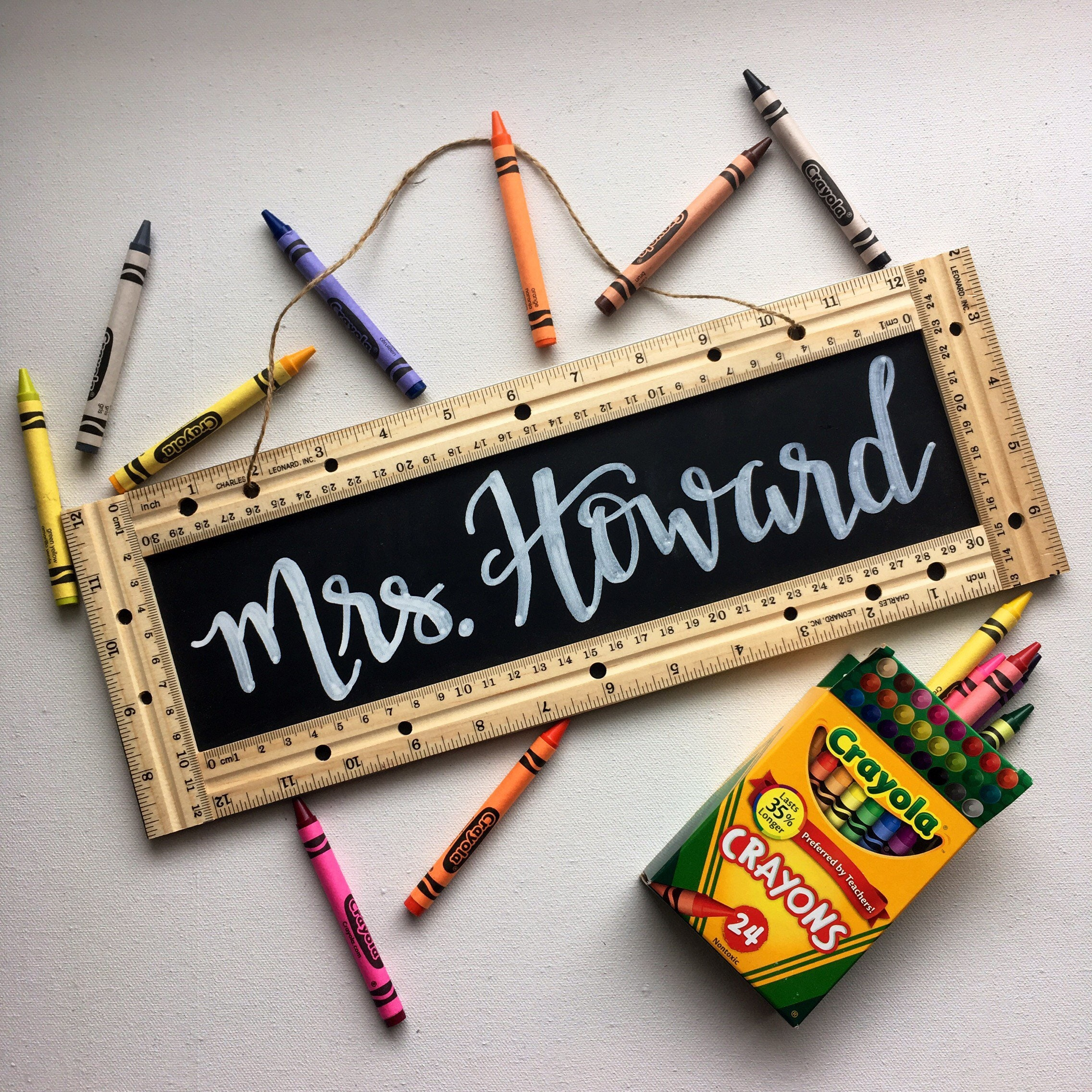 Classroom Decor Gifts ~ Personalized teacher sign gift school ruler chalkboard