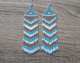 Native American Earrings Inspired. White  Blue  Gray Earrings. For Her. Gift For Women. Beadwork