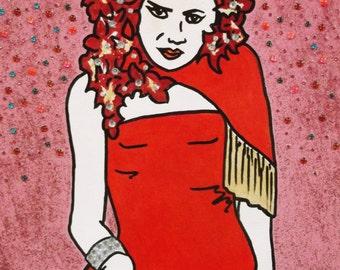 Little Edie STAUNCH Reno Sweeney Showgirl acrylic on canvas with crystal embellishments