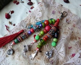 Gypsy fortune teller keychain - bag charm