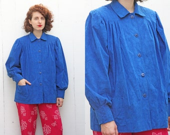 SALE Vintage 70s Shirt Jacket | 70s Blue Ultrasuede Swing Shirt Jacket with Pockets | Medium M Large L