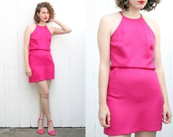 SALE Vintage 80s Dress | 80s Pink Magenta Sleeveless Minidress | Small S Medium M