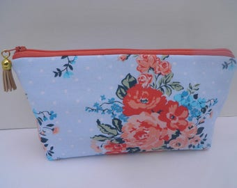 Essential oil zipper pouch, young living, oil organizer, oil travel bag, light blue and coral floral
