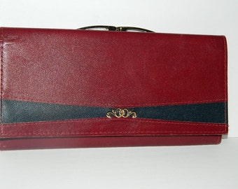Vintage Ladies Deep Maroon Leather Wallet