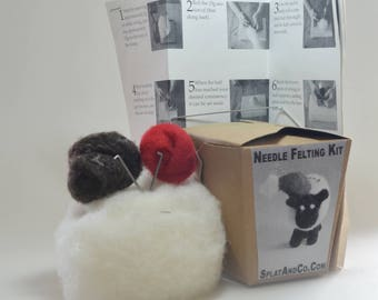 DIY Needle Felting Kit, DIY Felting Kit, Sheep Ornament Needle Felt Kit