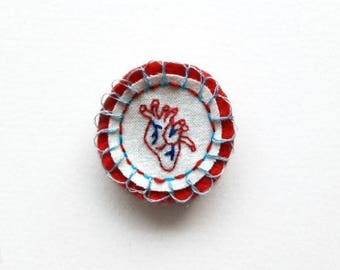 Anatomically Correct Heart Merit Pinback Patch Embroidered Felt Brooch