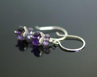Amethyst earrings, amethyst jewelry gift for her, pierced earrings, February birthstone gift, sterling silver French hook ear wires