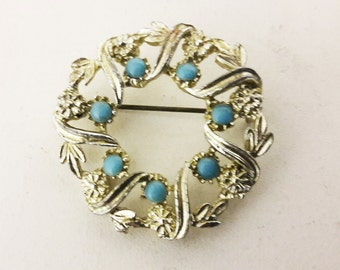 Vintage White Metal Brooch with Six Turquoise Stones