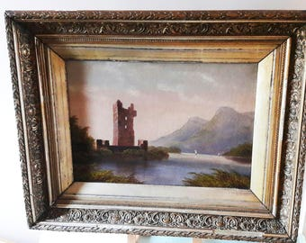 Beautiful Antique Victorian Framed Oil Painting on Canvas - Urquhart Castle, Loch Ness.
