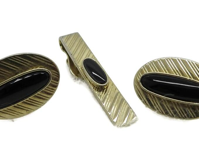 Swank Cufflinks Set, Vintage Onyx Cufflinks Tie Clip, Gold Tone Cufflink Set, Men's Suit Accessory, Gift for Him
