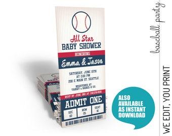 Baseball Baby Shower Invitation, Baseball Baby Shower Invite, All Star Baby Shower Invitation