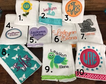 Personalized Burp Cloth, Monogrammed Burp Cloth, Personalized Burp Rags, Monogrammed Burp Rags, Baby Shower Gifts, Personalized Gifts