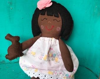 Easter Doll • Mini Rag Doll  • Handmade Doll • Preschooler Doll • Dark Skin Doll • Custom Doll • Gift for Girl • Ethnic Doll