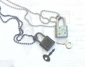 padlock and key jewelry, padlock jewelry, padlock necklace, vintage key necklace, mens key necklace, steampunk jewelry, vintage padlock,