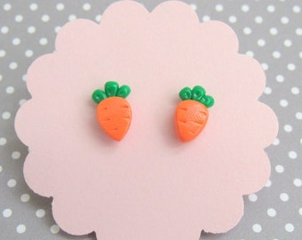 Orange Carrot Earrings, Food Earrings, Food Jewelry, Vegan Foodie Gift, Cute Stud Earrings, Hypoallergenic Nickel Free, Vegetable Earrings