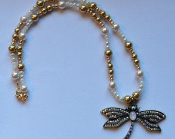 Dragonfly Beaded Pendant Necklace