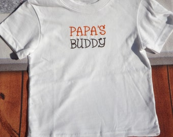 Papa'sbuddy tshirt orange and brown font  was 13.95 now 9.00