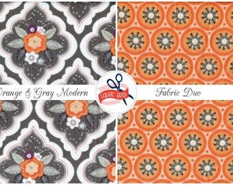ORANGE & GRAY Fabric Bundle by the Yard Half Fat Quarter Modern Floral Chic Flowers Fabric 100% Cotton Quilting Fabric Apparel Fabric Kit