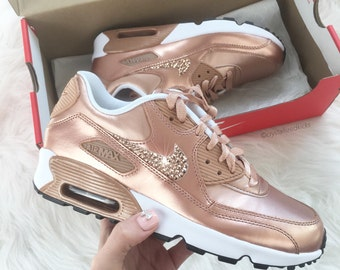 Nike Air Max 90 Rose Gold Sneakers Made with SWAROVSKI® Crystals - White/Metallic Rose Gold