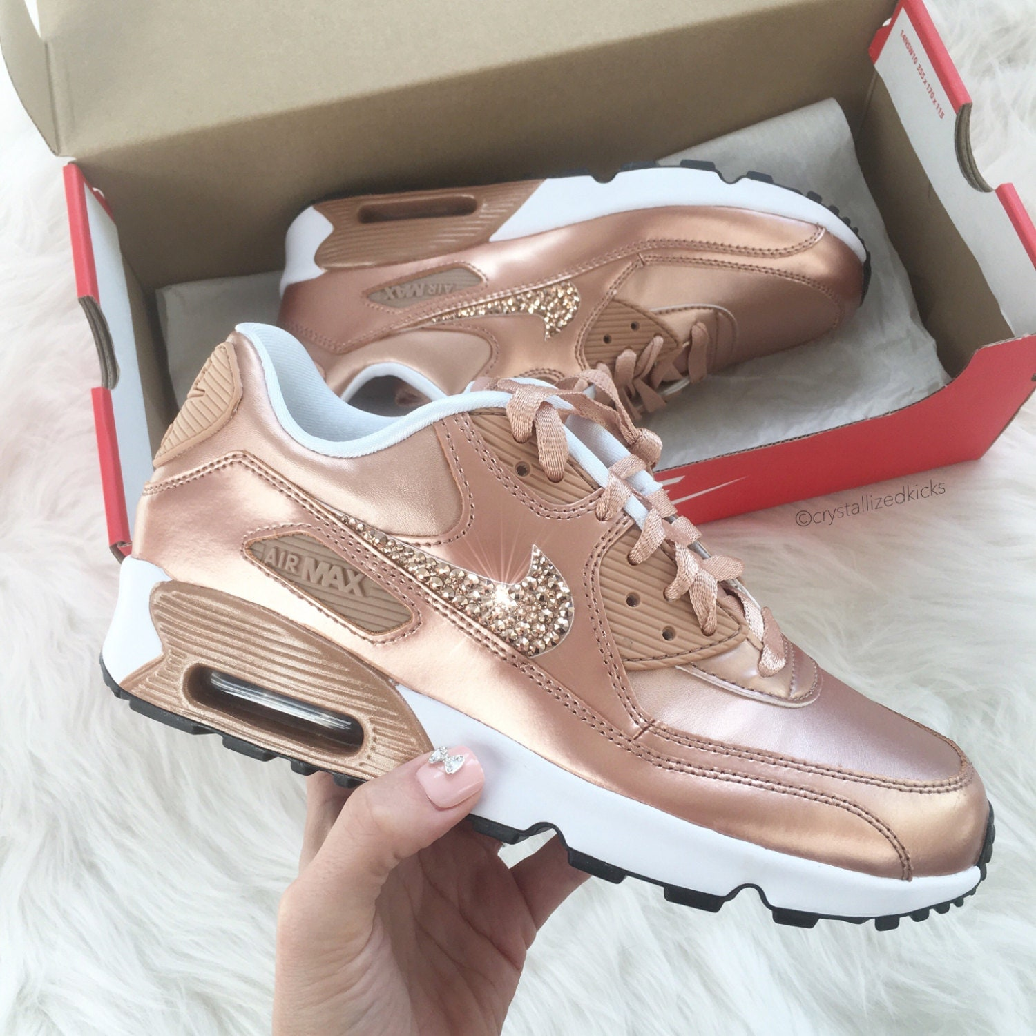 nike air max 90 rose gold sneakers made with swarovski. Black Bedroom Furniture Sets. Home Design Ideas