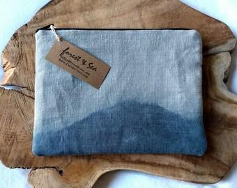 Grey and Blue Purse, Zipper Pouch | Hand dip dyed fabric pouch, blue and grey linen purse, zippered make up bag, linen bag, fabric purse.