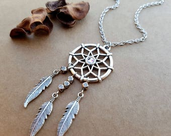 Dreamcatcher Necklace, layering necklace, Boho Necklace, Dream catcher Necklace, Feather Necklace, Tribal Jewelry, Dream Necklace, boho gift