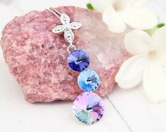 Purple blue Swarovski crystal pendant necklace Sterling Silver Swarovski jewellery Wedding bridesmaids necklace 3 Rivoli Vitrail light