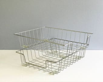 Wire Rack Wire Bins In Out Bins / Wire Baskets / Wire organizer Set of 2