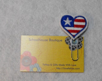 Heart Flag July 4th felt paper clip bookmark, felt bookmark, paper clip bookmark, feltie paper clip, planner clip, page marker, teacher gift