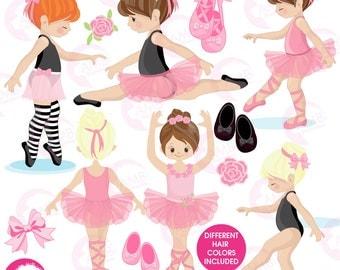 Ballerina clipart, Ballet clipart, pink ballerina, girl dancing, commercial use,  instant download, AMB-1306