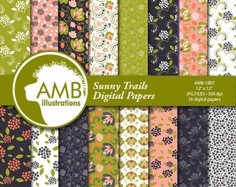 Floral Digital Papers, Shabby chic papers, vintage flowers, digital papers, pink floral pattern, Sunny Trail pattern, AMB-1807