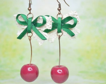 Dark Red Cherry Earrings