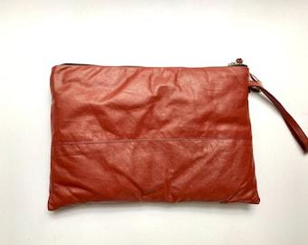 Vintage Leather Purse. Vintage Leather Clutch. Vintage Handbag. Vintage Clutch. Burnt Sienna Handbag. Small Vintage Purse. Evening Bag