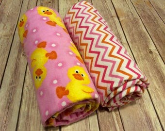 Set of 2: Handmade Little Ducks Large Serged Swaddle Blanket, Pink & Orange Chevron Blanket, Baby Duck Blanket,