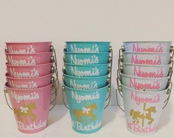 5 personalized carousel tin pails