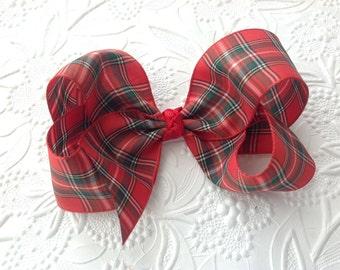 Christmas bow: Tartan bow on an alligator clip. Red hair bow. Christmas bow headband. Red headband. Holiday bow headband. 4 inch bow girls