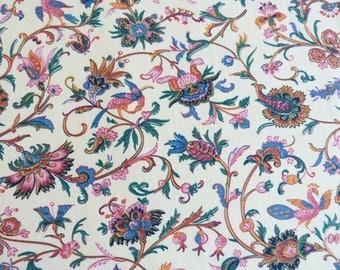 Indienne flower & bird cotton BOUSSAC ROMANEX fabric curtain panel - French 40s 50s vintage