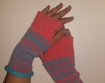 Knit Fingerless Gloves, TEXTING MITTS, Fingerless Mitts, Multi Color Gloves, Multi Stripe Gloves, Fall Gloves, Winter Mitts, Knit Mitts